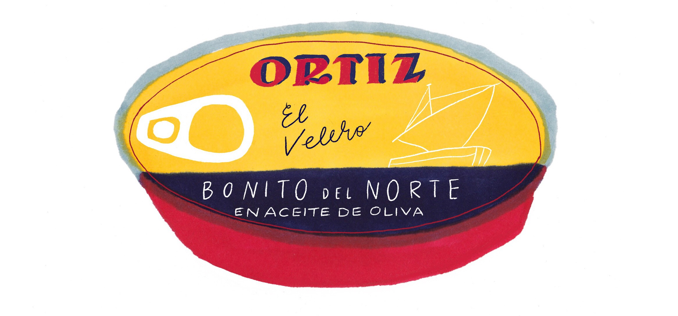 Illustration of an Ortiz can of tuna